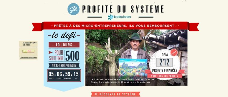 Defi Je Profite du systeme Micro entrepreneur Babyloan